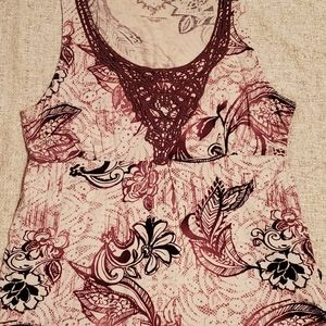 Sonoma Tops - Sonoma L Maroon sleeveless low cut floral shirt